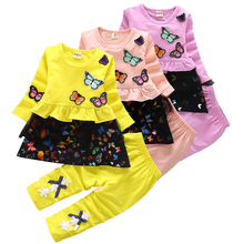 Baby girl #8217 s clothes two-piece cotton Minnie clothes baby girl clothes cute butterfly print casual sportswear baby suit cheap NoEnName_Null Polyester O-Neck Sets Pullover Full REGULAR Fits true to size take your normal size Woolen Cotton polyester