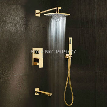 цена на Gold Brass Rainfall Shower Head Widespread Waterfall Tub Mixer Tap Bathroom Bath Shower Faucet Set Wall Bathroom Shower System