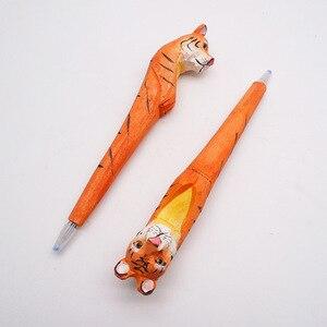 Image 5 - 20pcs/set Wholesale Cartoon Wedding Gifts Stationery Cute Handmade Wood Carving Pen Wholesale Wood Animal Pen for Kids