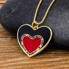 Женское Ожерелье чокер из двух звеньев сердца с фианитами