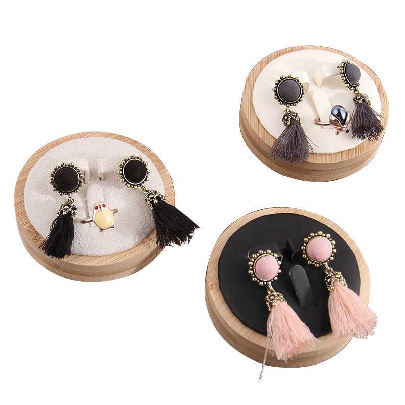 Bijoux en bambou affichage oreille boucles d'oreilles affichage anneaux affichage pendentif Collection rangement organisateur porte-plateau