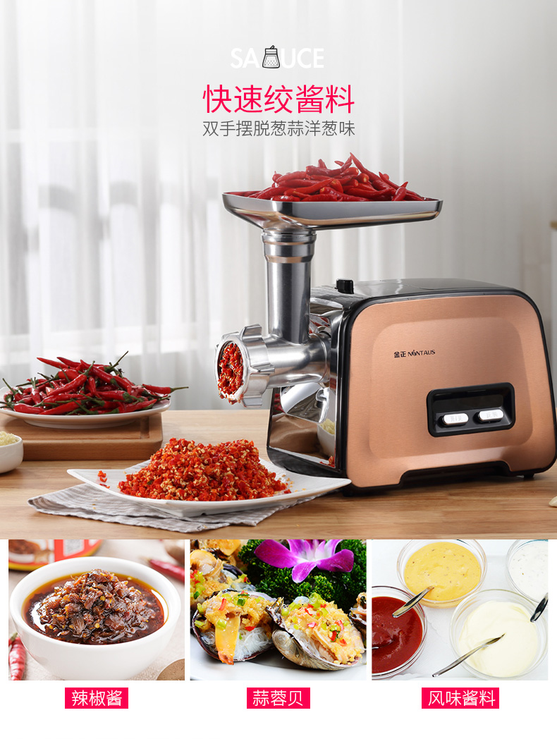 Electric Meat Grinder Household Small Stainless Steel Multi-function Mixing Mince Filling Machine Automatic Commercial Enema 5