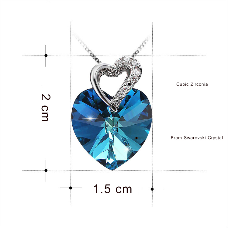 Image 5 - Warme Farben Crystal from Swarovski Women Necklace Fine Jewelry Blue Heart Crystal Pendant Necklace Valentine's day Gift-in Necklaces from Jewelry & Accessories