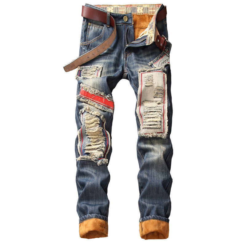 MEN'S Jeans Retro Big Hole Patch Straight-Cut Thick Plus Velvet MEN'S Trousers