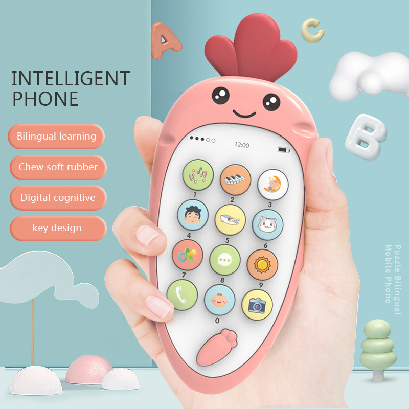 Baby Music Toys Cute Cartoon Carrot Design Baby Music Toys Learning Machine Phone Case Cover For Baby Learning Music Toys