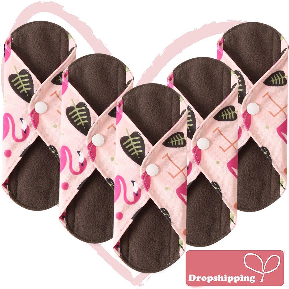 5Pcs Women Menstrual Pads Reusable Sanitary Napkin Absorbent Reusable Charcoal Bamboo Cloth Pads Washable Sanitary Towel Size M