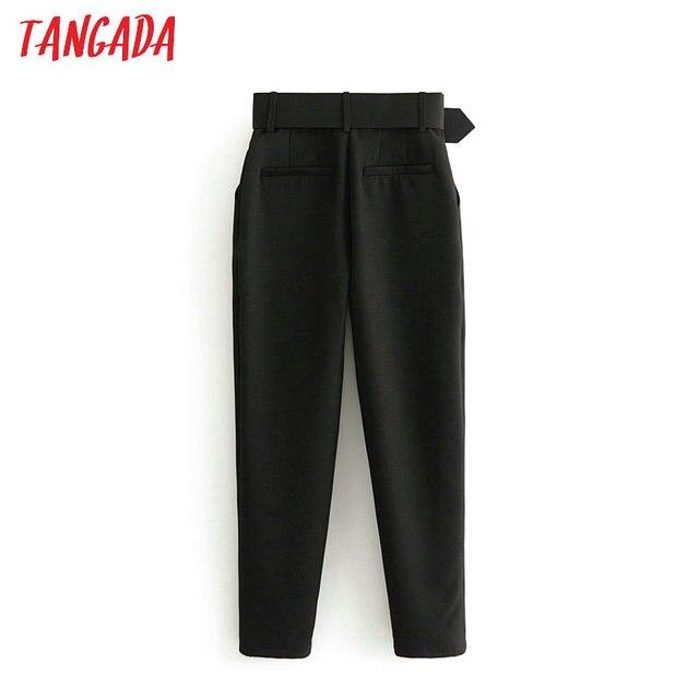 Tangada black suit pants woman high waist pants sashes pockets office ladies pants fashion middle aged pink yellow pants 6A22 6