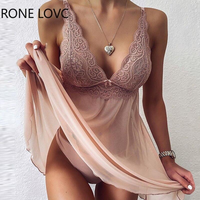 V-neck Crochet Lace Mesh Dress