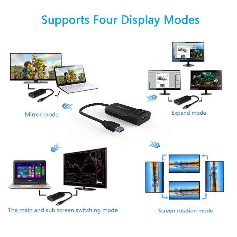 Image 4 - Wavlink USB 3.0 To HDMI Multi Monitor Video Graphic Adapter HD  1080p Output External Video Card Adapter DP Display free shippingusb  3.0 to hdmivideo card adaptermulti monitor