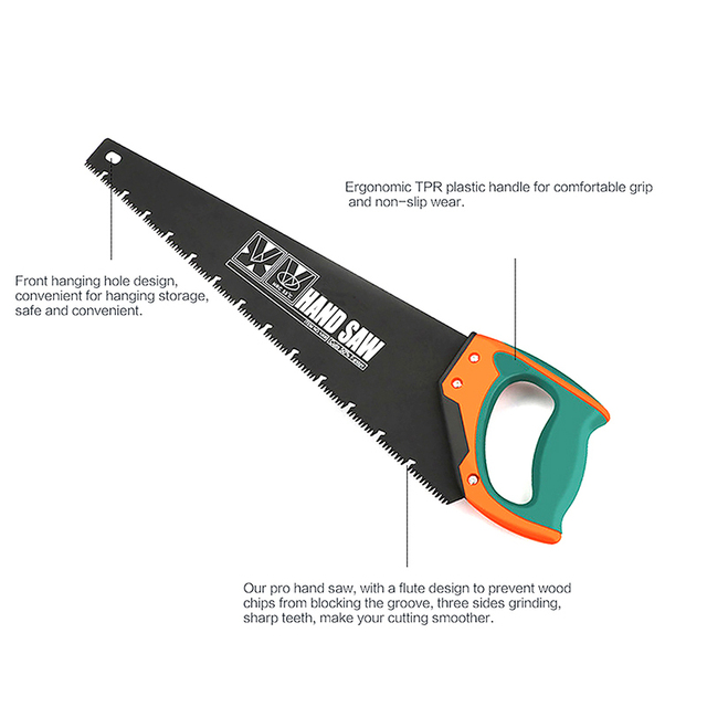 AIRAJ 18/20 Inch Long Multi-function Hand Saw Woodworking Tools Fast Cutting Wood Plastic Tube Home Gardening Tool