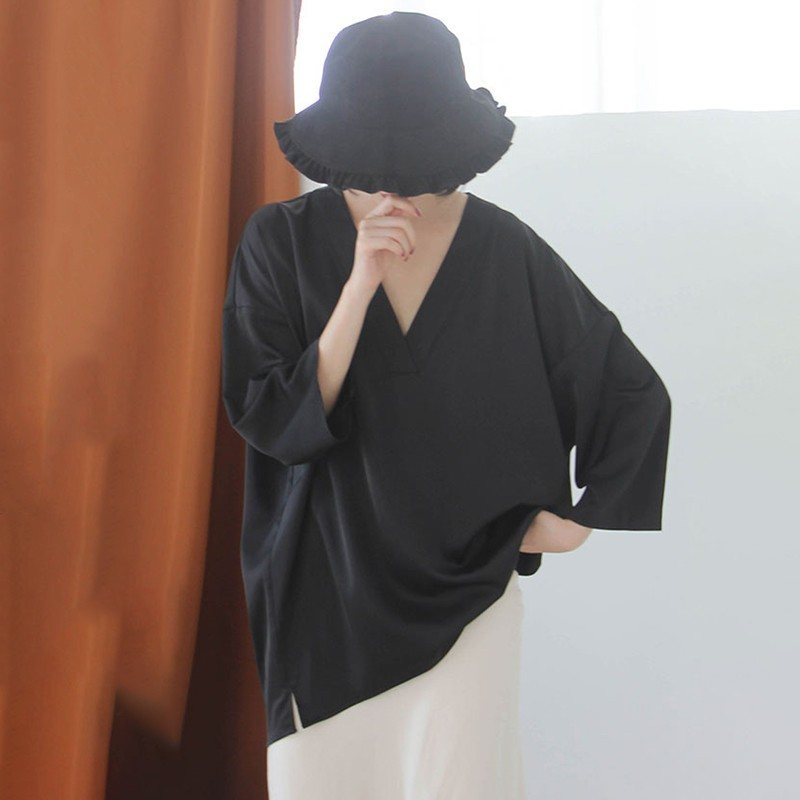 [EAM] Women Black Brief Asymmetrical Big Size Long T-shirt New V-Neck Long Sleeve  Fashion Tide  Spring Autumn 2020 JK987 5