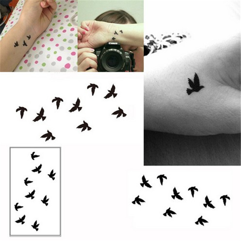 1 Sheet Temporary Tattoo Sticker Women Sexy Finger Wrist Flash Fake Tattoo Stickers Liberty Small Birds Fly Design Pattern