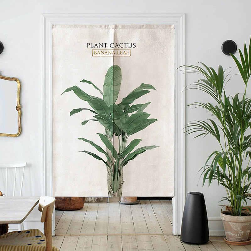 Thuis Bladeren Digitale gedrukt katoen gordijnstof partitie gordijn keuken badkamer gordijn Gratis gift Telescopische stang