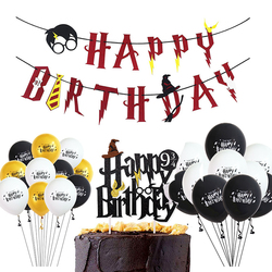 Cartoon Birthday Banner Happy Birthday Latex Balloons Cake Topper Baby Shower Birthday Party Decor Hanging Bunting Kids Favors