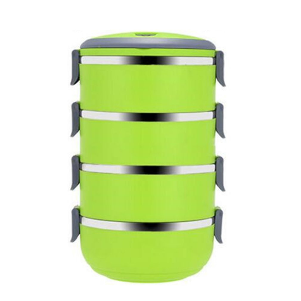 Three Four Tier Stainless Steel Lunch Box 3 Color Food Meal Box Container Lunchbox Tableware Dinnerware Set Dropshipping|Lunch Boxes| |  - title=