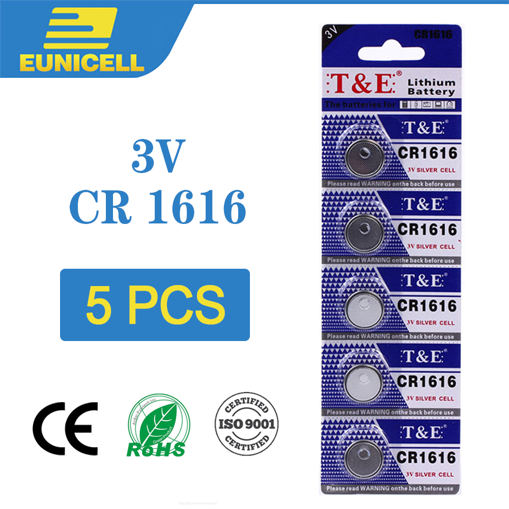 5pcs Lithium Cell Coin Battery 3V CR1616 CR 1616 Button Batteries  DL1616 ECR1616 LM1616 For Watch Toy Remote Electronic Car Key