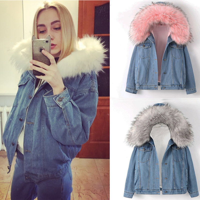 2019 New Warm Winter Bomber Women Winter Autumn Hooded Girls Coat Jeans Denim   Jackets     Basic   Ladies Top Windbreaker Female Large