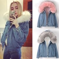 2019 New Warm Winter Bomber Women Winter Autumn Hooded Girls Coat Jeans Denim Jackets Basic Ladies Top Windbreaker Female Large