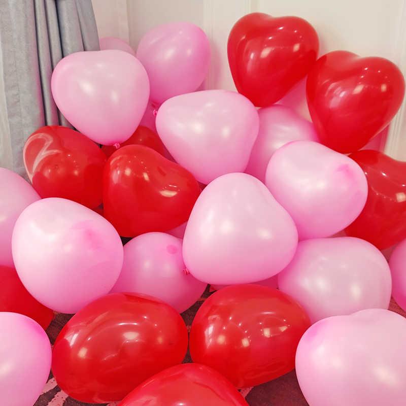 Balony lateksowe w kształcie serca nadmuchiwane dekoracje ślubne balony na imprezę szczęśliwego nowego roku dekoracje na imprezę urodzinową dla dzieci