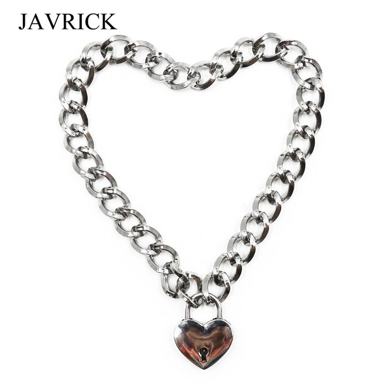 Women Fashion Sexy Harajuku Handmade Gold-Color Link Chain Necklace Punk Choker Beauty Lock Collar Belt Torques Club Par