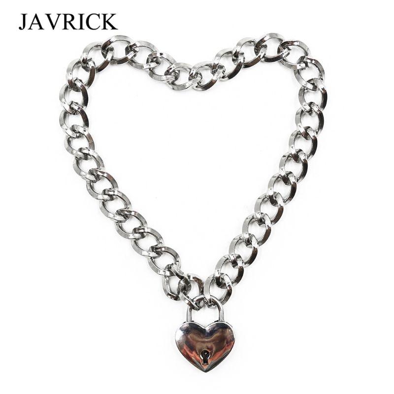 Women Fashion Sexy Harajuku Handmade Gold-Color Link Chain Necklace Punk Choker Beauty Lock Collar Belt Torques Club Par