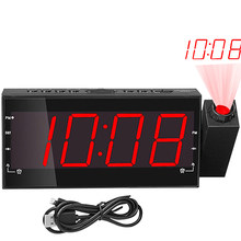 Alarm LED zegar Radio projekcja cyfrowy budzik zegar z radiem FM USB do ładowania dla domu sypialnia czas funkcją drzemki 1 sztuk