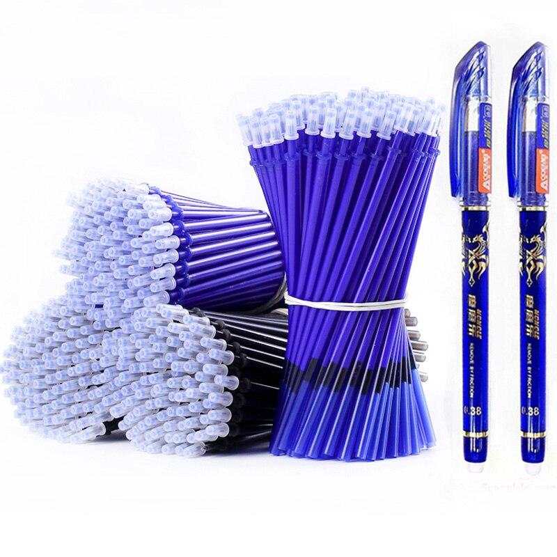 53 unids/lote 0,38mm borrable lavable Pen recarga varilla para manejar azul/negro tinta pluma de Gel para escuela materiales de escritura para oficina papelería