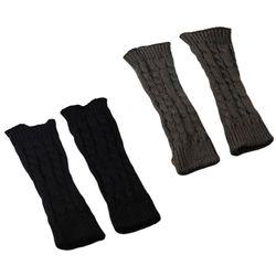 Mujeres invierno tejido brazo manga guantes tejido trenzado sólido mitones sin dedos nuevo 40JF