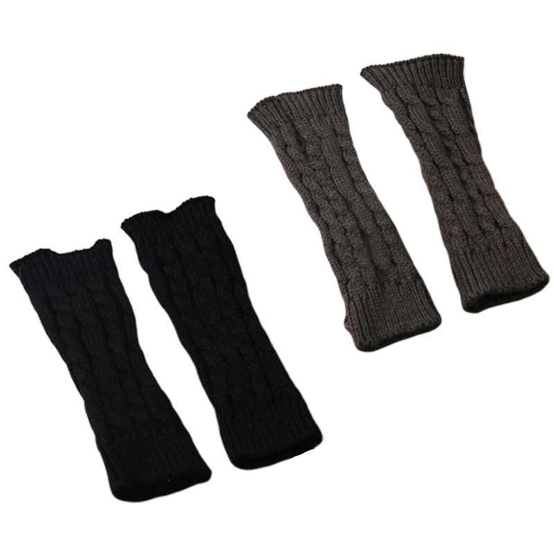 Women Winter Knitted Arm Sleeve Gloves Weaved Braid Solid Fingerless Mittens New 40JF
