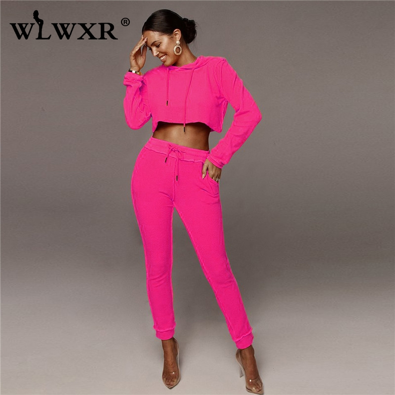 WLWXR Autumn Casual Pink 2 Piece Set Women Outfits 2019 Crop Top And Sweat Pants Women Suit Ladies Tracksuit Female Matching Set