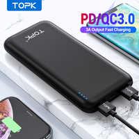 Topk 10000 mah power bank 18 w usb tipo c baterias externas qc3.0 pd em dois sentidos de carregamento rápido powerbank para samsung xiaomi