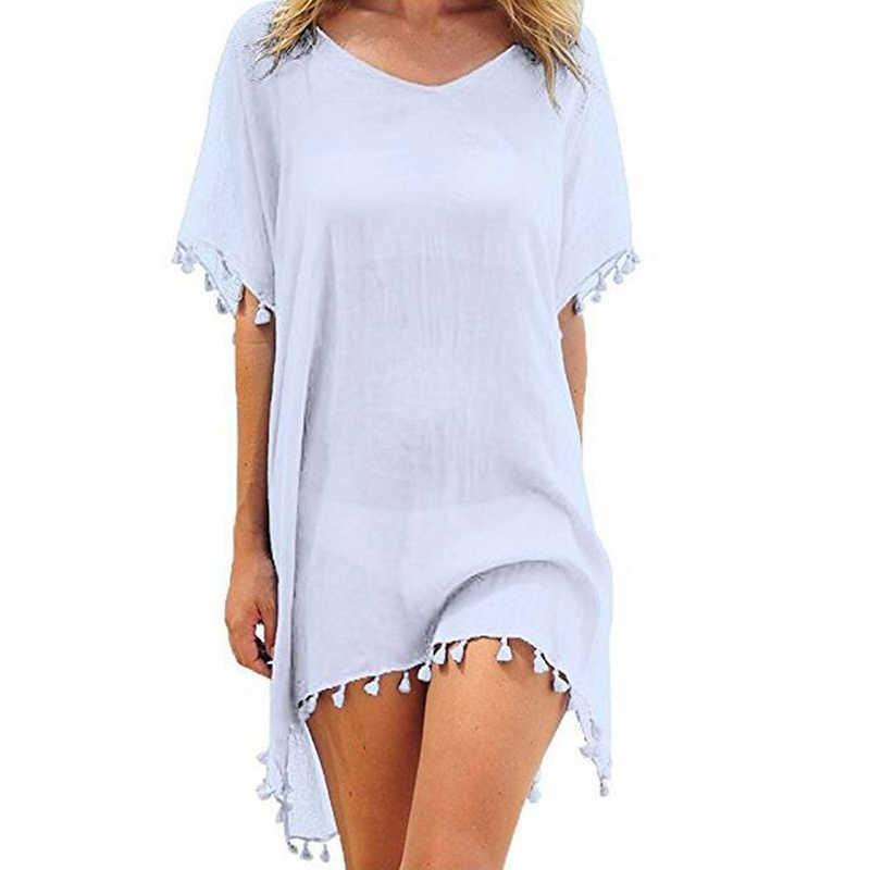 2020 שיפון גדילים החוף ללבוש נשים בגד ים לחפות בגדי ים רחצה חליפות קיץ מיני שמלת Loose מוצק Pareo כיסוי Ups