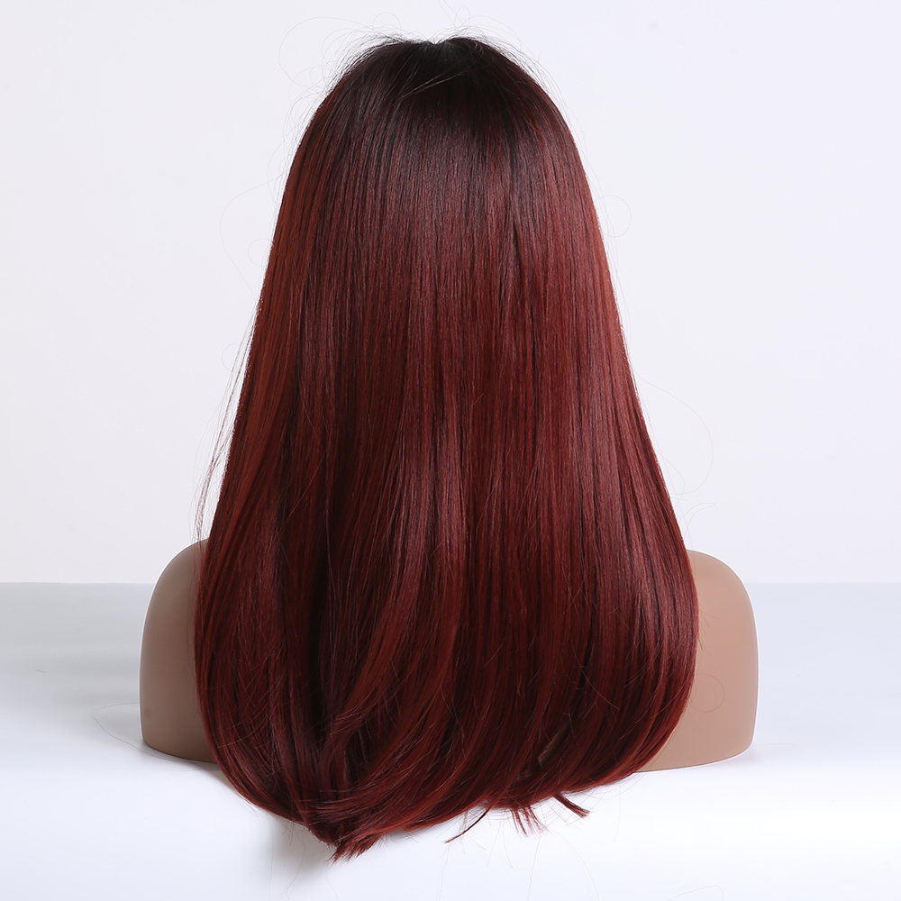 Image 3 - ALAN EATON Long Ombre Black Wine Red Straight Synthetic Wigs with Bangs Heat Resistant Hair for Black Women Cosplay Party WigsSynthetic None-Lace  Wigs   -