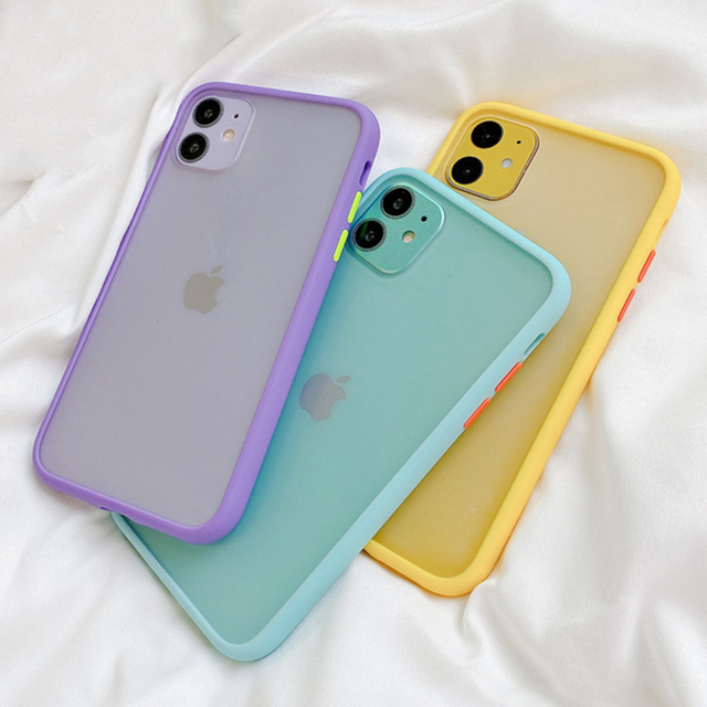 Mint Simple Matte Bumper Phone Case for iphone 11 Pro XR X XS Max 12 6S 6 8 7 Plus Shockproof Soft TPU Silicone Clear Case Cover 3