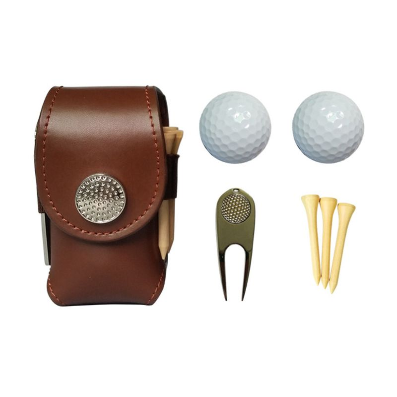 Portable Golf Ball Mini Faux Leather Waist Bag Clip Utility Pouch Pocket Golfing Tackle Set With Balls Tees Divot Tool