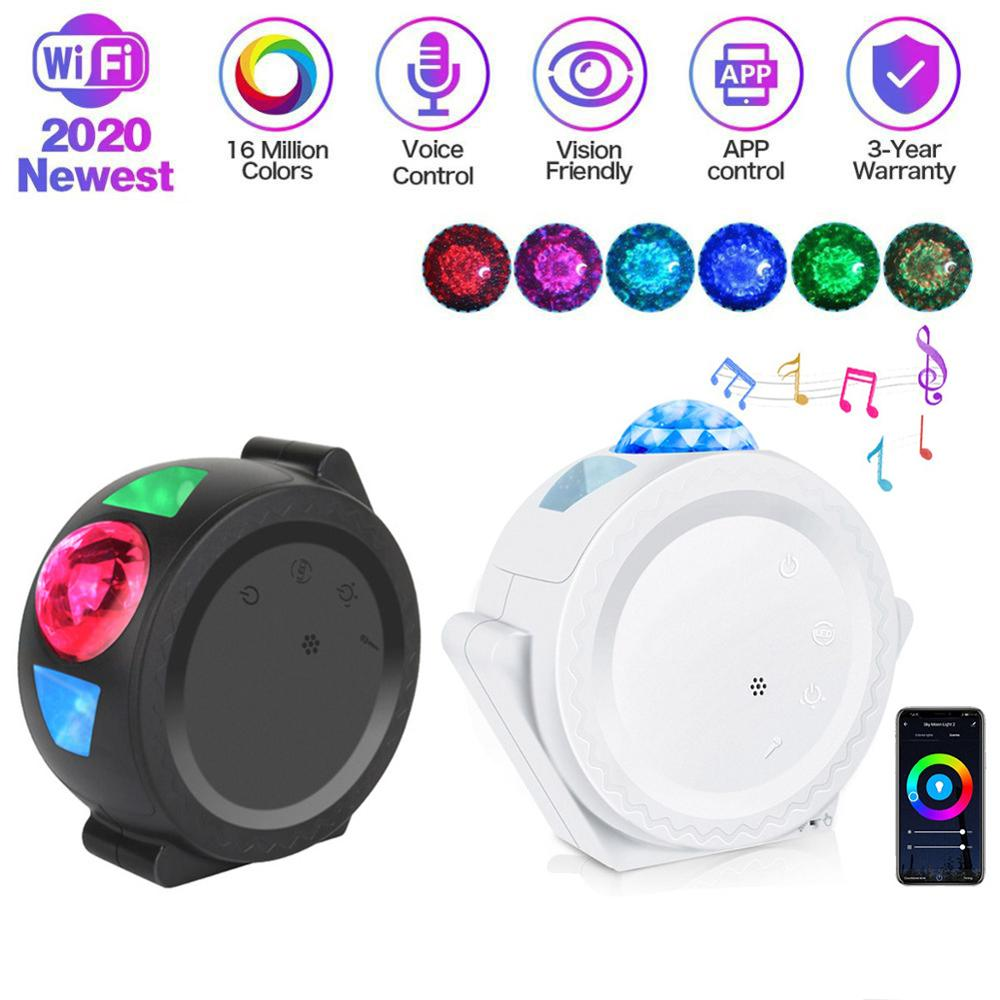 Led Sterrenhemel Projector Light Moon Star Cloud Bluetooth Night Lamp 360 Graden Rotatie Projectie 6 Kleuren Oceaan Zwaaien Lichten