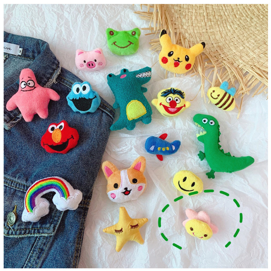 Cartoon Doll Plush Brooch Sunflower Pendant Women Bag Pin Accessories Clothes DIY Decoration Toy For Kids Gift
