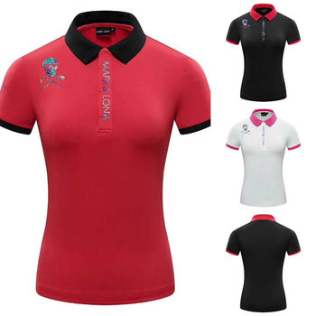 Kobiety nowy sportowe z krótkim rękawem t-shirt do golfa 3 kolory odzież golfowa S-XXL w wyborze wypoczynek oddychające zaznacz i LONA sportowe Golfshirt tanie i dobre opinie HQBWill WOMEN COTTON SILK Poliester Mikrofibra spandex Anty-pilling Anti-shrink Przeciwzmarszczkowy Szybkie suche Koszule