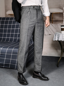 Autumn and winter Nick wooster retro herringbone woolen small straight trousers trendy men's woolen cropped trousers plus size image