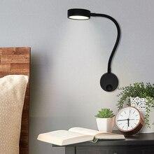 Artpad Aluminum Silver/Black Bright 5W LED Wall Spot Light, Flexible Gooseneck Reading Book Lamp For Bedside Study AC110  220V