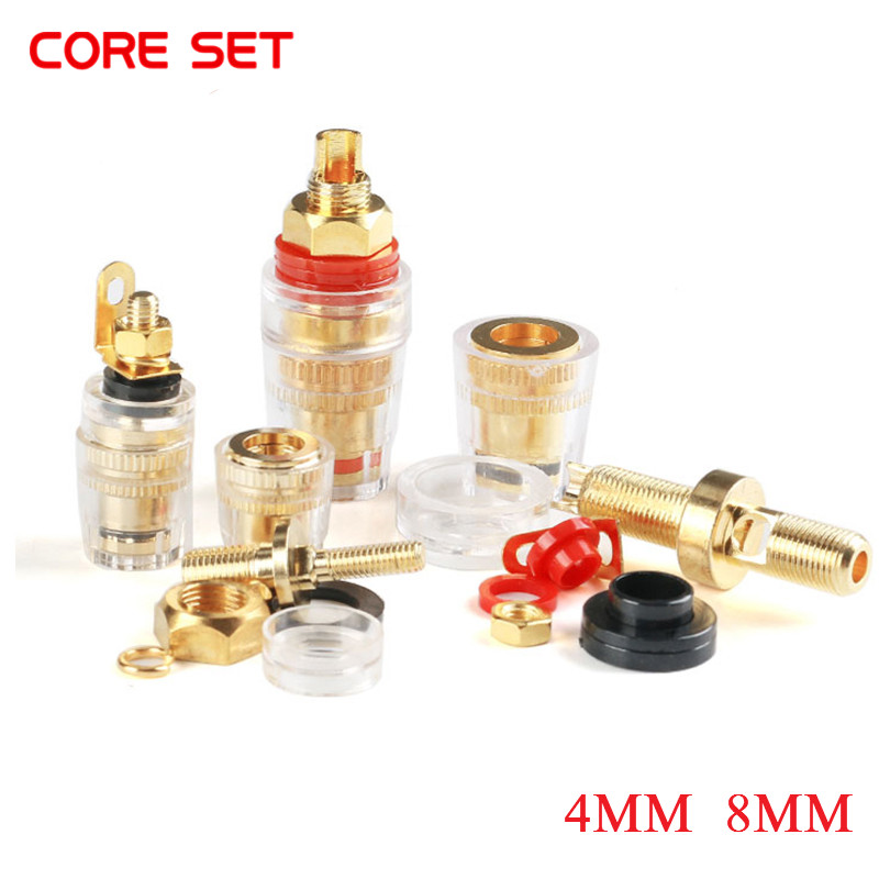 Gold Plated Copper Banana Connector 4mm Thread Medium Amplifier Speaker Spade Terminal Binding Post Banana <font><b>Plug</b></font> Socket M4 <font><b>M8</b></font> image