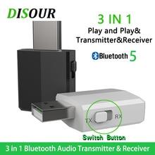 KN330 3 Trong 1 USB Bluetooh 5.0 Âm Thanh Thu Phát 3.5 AUX Jack RCA Stereo Không Dây Bluetooth Adapter Dành Cho Tivi máy Tính Nhạc Trên Ô Tô