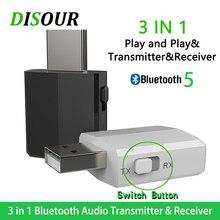 Kn330 receptor de áudio 3 em 1, transmissor e receptor bluetooth 5.0 com usb bluetooth 3.5, adaptador estéreo aux jack rca para tv música do carro de pc