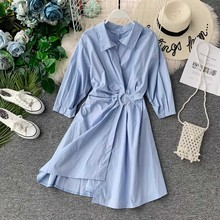 NiceMix 2019 new autumn Summer Women Solid Color  Belted High Waist Long Sleeve Slim Dress Lady Clothes