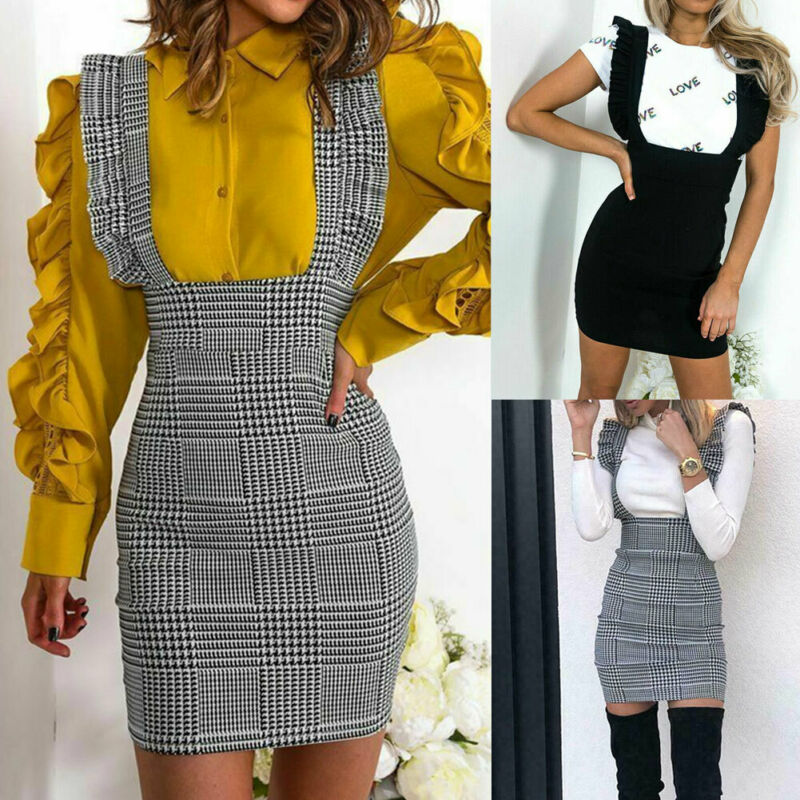 2019 Fashion Women's Casual Suspender Check Frill Ruffle Trim Bodycon Dress Sleeveless New Style All-matching