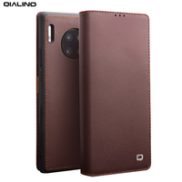QIALINO Stylish Genuine Leather Flip Case for Huawei Mate 30 Pro Business Style Phone Cover with Card Slots for Huawei Mate 30