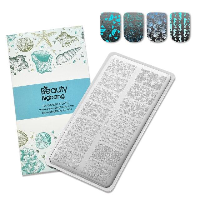 BeautyBigBang XL 01 ze stalowymi ćwiekami stemplowanie do paznokci polski Nail Art Shell owoce szablon obrazu stemplowanie paznokci