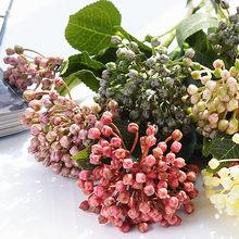 Flor artificial de plástico com folhas, frutas artificiais de hortência com 2 cabeças/ramos de plantas falsas para decoração de jardim e casa