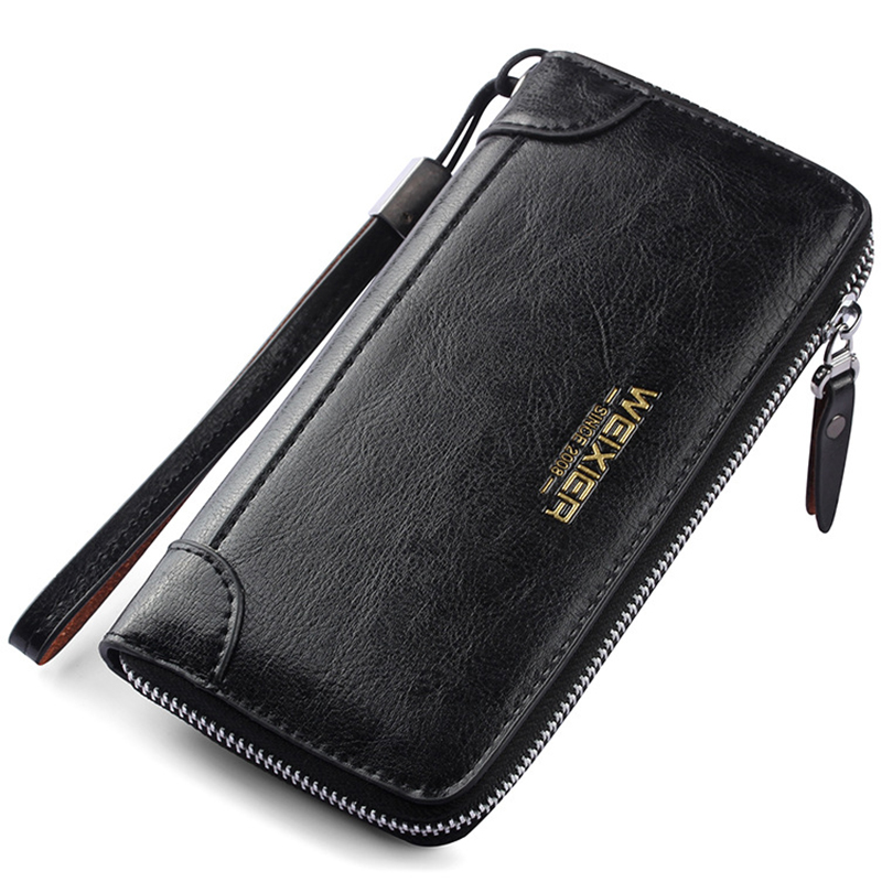 Vintage Men Wallets Leather Brand Purse Male Clutch Bag Coin Pocket Man Wallet Zipper Long Purses Cartera Hombre MWS267-3