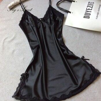 Women Nightdress Sexy mini dress Soft Comfortable Satin Lace Sleepwear nightgown Summer Autumn Sling V-neck camisola sexy 2